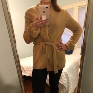 Express sweater, brown with tie-waist cardigan